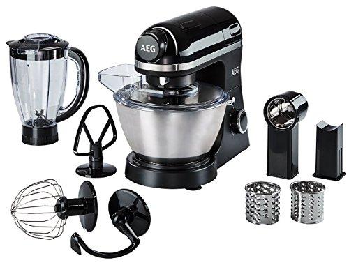 AEG KM3300 Küchenmaschine (4 l Edelstahl-Rührschüssel mit Spritzschutz, Schneebesen, Knethaken und Flachrührer, 1,5 l Standmixer-Aufsatz, Schnitzelwerk mit 3 Einsätzen, 800 Watt) Schwarz