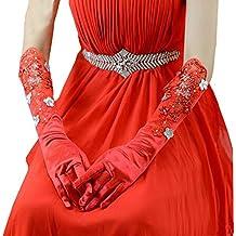 Hermosa mujer roja guantes de manga larga de la boda / guantes de fiesta
