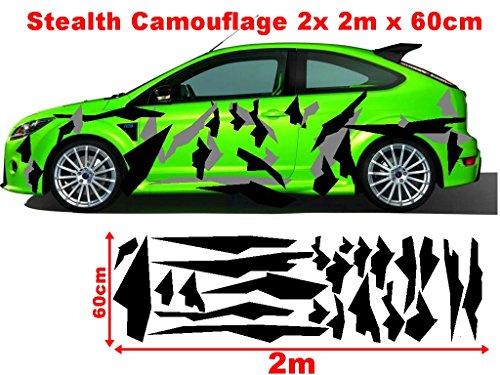 Stealth Cyber Kanten Camo 2x 2m Camouflage Camo einzelne Flecken Autoaufkleber Aufkleber Sticker Folie Style Bodystyle Karosserieaufkleber Karosseriefolie