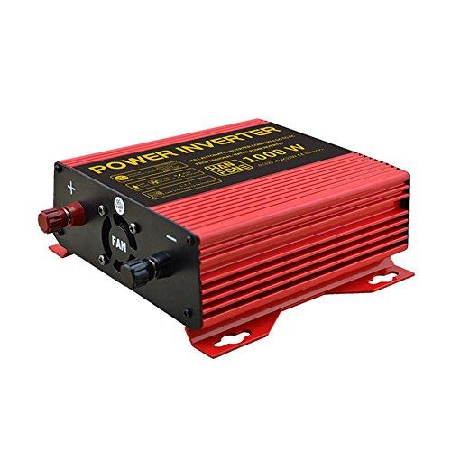 BQ Convertisseur @ Power Inverter DC 12V à 220V AC Convertisseur de voiture solaire PV avec adaptateur allume-cigare 1000W (Rouge)