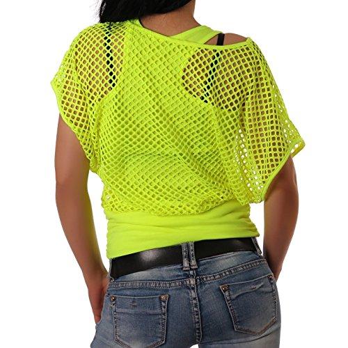 Crazy Age Frauen Partytop Sommertop Fasching Fest Netzoberteil aktueller Trend in Neonfarben Neongelb