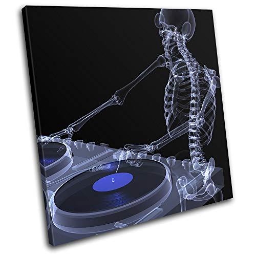 Bold X-ray (Bold Bloc Design - DJ Skeleton X-Ray Abstract Blue DJ Club 75x75cm Single Leinwand Kunstdruck Box gerahmte Bild Wand hangen - Bereit zum Aufhangen - Canvas Art Print RC-0016(00B)-SG11-LO-C)