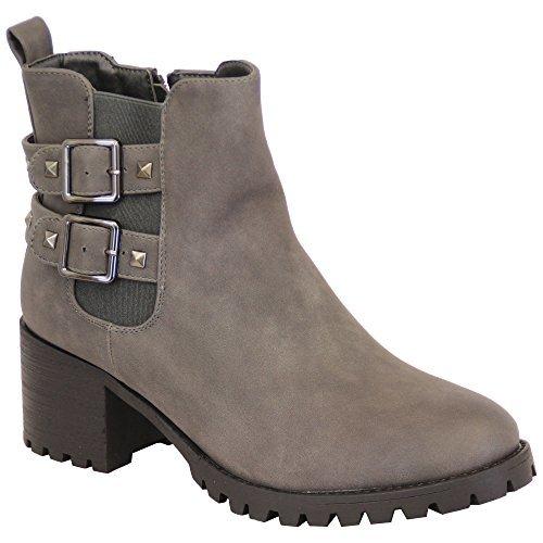 femmes bottes chelsea femmes motard clous talon bas haut Haut Cheville fermeture éclair Chaussures hiver Gris - RS09