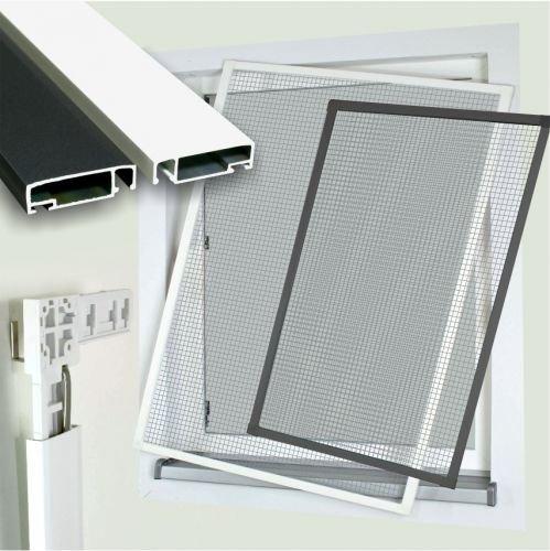 Profi Insektenschutzfenster Alu Bausatz 301 weiß 80x120cm Fliegengitter Gaze Mücken Größe 80x120cm, Farbe weiß