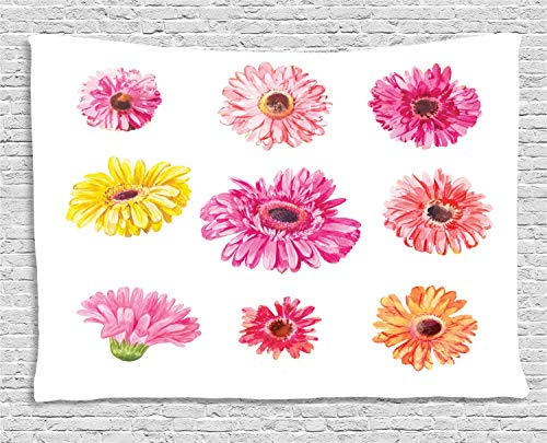 MLNHY Gerber Daisy Tapestry, Gerbera Flower Heads in Pink and Yellow Shades Watercolor Aquarelle Artwork, Wall Hanging for Bedroom Living Room Dorm, 80 W X 60 L Inches, Multicolor
