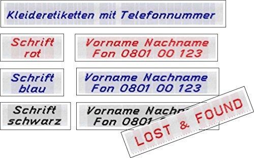 LOST & FOUND 50 Kleidungsetiketten, Etiketten mit Ihrem Namen und Telefonnummer zum Einnähen 10mm
