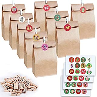 LISOPO 24pcs Natural Bags kraft paper with 24 wooden clips and 48 stickers   Gift Paper bag with Christmas cards Advent calendar craft kit Christmas