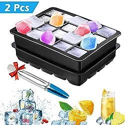 TedGem molde de hielo de silicona, 2 Piezas bandeja de cubitos de hielo sin BPA, 20 silicona Bandeja para Cubitos de Hielo, Para Bebés, Cola, Cócteles, Whisky