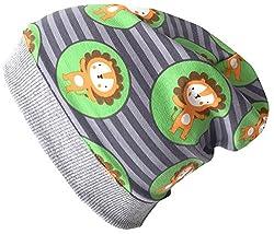 Wollhuhn Beanie-Mütze mit lustigen Löwen in grau/grün, für Jungen und Mädchen, 20170808, Größe XXS: KU 36/40 (bis ca 6 Mon.)