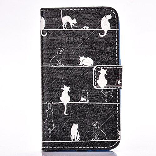 Samsung Galaxy J1 (2016)J120 Hülle, Samsung Galaxy J1 (2016)J120 Case,Cozy Hut PU Leder Hülle Flip Wallet Cover in Book Style Stand Case Card Slot leder tasche case Karteneinschub und Magnetverschluß (In Dekorationen Hut Katze Den)