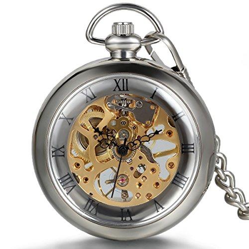 JewelryWe Anhänger Halskette Taschenuhr Rund Mechanische Handbuch Fantasie transparent römischen Ziffern aus farbiger Legierung Gold und Silber für Damen und Herren mit Geschenktasche
