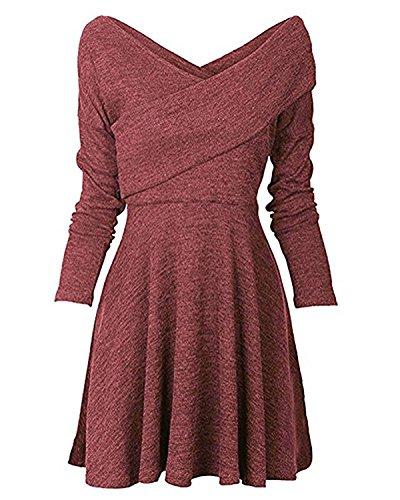 Minetom Damen Frauen Basic Langarm Casual Strick Herbst Kleider Rot DE 40 (Socken Casual Kleid)
