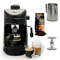 Capresso 303.01 Capresso 4-Cup Espresso Cappuccino Machine with New 20 oz Espresso Coffee Milk Frothing Pitcher + Espresso Tamper (CD) and Whole Bean Coffee (8.8oz) Swiss Roast Regular