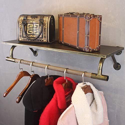 Inicio robusto y duradero, no oxidado, desmontable Vintage madera maciza forja perchero gancho estante de pared estante de combinación de ropa estante adecuado para estudio dormitorio sala