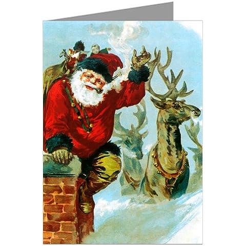 Babbo Natale e renna sul tetto Vintage Victorian Christmas Holiday dodici attenzione Mappe in un box-set