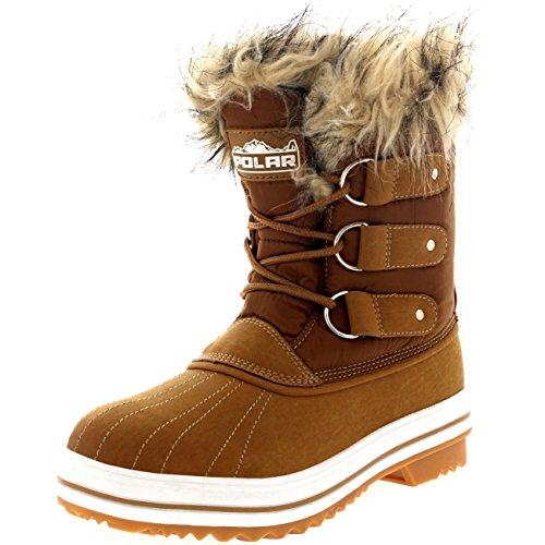 femmes-fourrure-brassard-caoutchouc-court-hiver-pluie-chaussure-bottes-tan40-ayc0076
