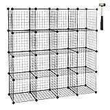 WOLTU SR0123sz-2 Étagère Cube en Grille étagère Conception DIY pour Rangement Armoire de penderie métallique Noir 16 Compartiments