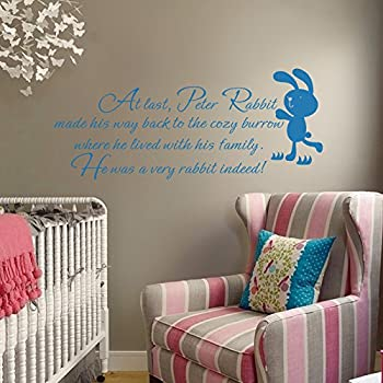 Peter Rabbit Vinyl Wall Decal Inspirational Story Quote Lovely Cartoon Mural  Baby Room Wall Art Sticker Custom Part 60