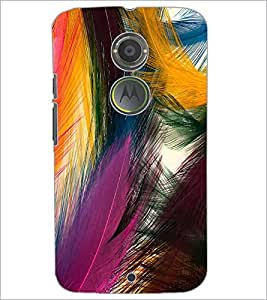 PrintDhaba Feathers D-2192 Back Case Cover for MOTOROLA MOTO X2 (Multi-Coloured)