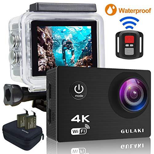 GULAKI Action Camera Sportivo 4K/30FPS Wi-Fi, Azione Cam impermeabile 40M schermo da 2,0 pollici LCD 170 ° wide-angolo con sensore Sony - 2 PC 1050mAh batterie e kit di accessori remoti a 2,4GHz