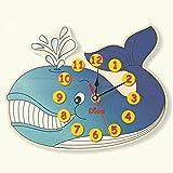 Dida - Orologio Balena. Orologio da parete in legno per arredare la camera dei bambini.