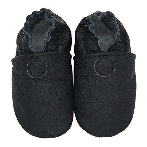 Carozoo Solide Noir(Solid Black), Chaussures Bébé Semelle Souple Fille