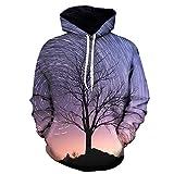 BaZhaHei Herren Langarmshirt Herren Herbst Winter 3D Print Langarm Kapuzen Sweatershirt Top Bluse Rundhals Oberteile mit Coolem Druck
