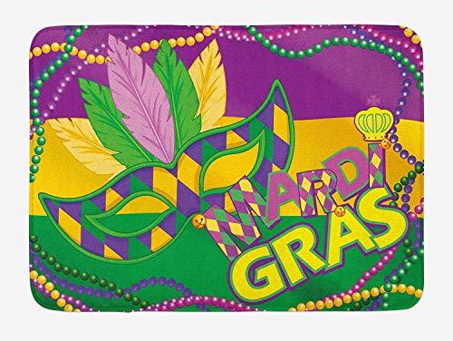 YnimioHOB Mardi Gras Badematte, Bunte Bänder mit lebendigen Perlen Federn Maske und Krone Symbol, Plüsch Badezimmer Dekor Matte mit Rutschfester Rückseite, Magenta Lime Green Yellow