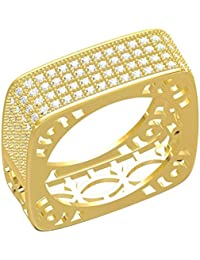 Spangel Fashion Designer 18 Ct. Gold Plated American Diamond Jewellery Ring For Men - B07855VVRD