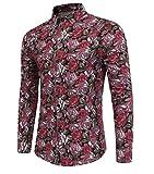 Allthemen Herren Blumen Art-langärmliges Blumen Hemd Freizeit Shirt 04 Rot Rosa Small