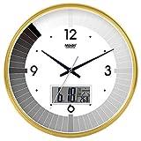 Wanduhr Stille Bewegung Wanduhr Home Office Dekor für Wohnzimmer Schlafzimmer und Küchenuhr Wand Stilvolle Schwarz-Weiß-Stummschaltung Kreativer Quarz Uhr Klavier Klavier 10 LCD Version Gold-135