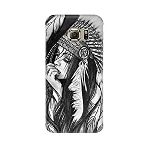 Mobicture Tribal Girl Premium Printed High Quality Polycarbonate Hard Back Case Cover for Samsung S7 Edge With Edge to Edge Printing