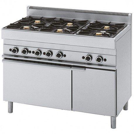 cuisinière à gaz, 6 brûleurs, 1 four électrique à convection, 1 armoire fermée
