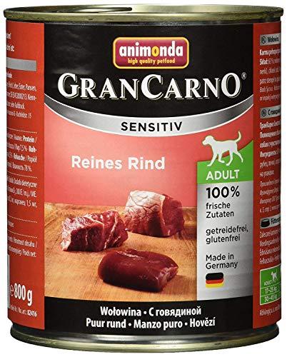 animonda GranCarno Hundefutter Adult Sensitiv, Nassfutter für ausgewachsene Hunde, Reines Rind, 6 x 800 g