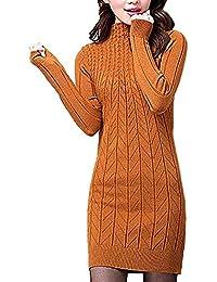 Tricot Pullover Femme Printemps Automne Longue Col Haut Pull Mode Élégant  Manches Longues Chic Jeune Col d7b534f84fc1