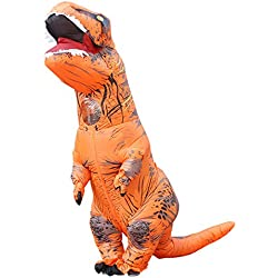 Triseaman adulto de Halloween ropa T-REX Tyrannosaurus hinchable cosplay dinosaurio El naranja
