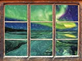 Stil.Zeit Auroral sur Glaciers Jokulsarlon Islande Art Effet de Crayon Fenêtre en 3D Look, Mur ou Format Vignette de la Porte: 92x62cm, Stickers muraux, Sticker Mural, décoration Murale