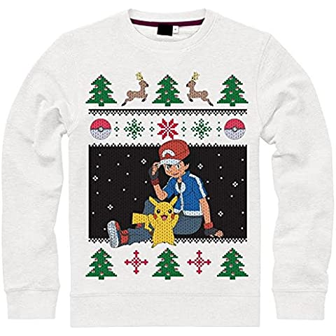 Import Europe - Jersey Navidad Pokémon, Color Blanco, Talla L
