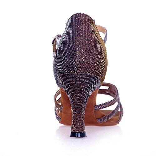 L@YC Donne Danza Scarpe Latino/Sala Da Ballo Con Raso Nero/Rosso/Oro/argento/Marrone/Blu Può Essere Personalizzato Grandi Cantieri silber