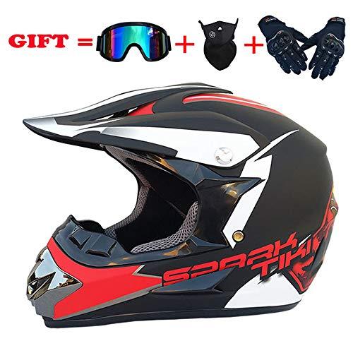 ZJRA Matte Red/Motocross Helm, Beach Racing Dirt Bike Helm Adult MX Fox Männer und Frauen ATV, DOT (Handschuhe, Brillen, Masken, 4er Set),S54~55cm (Dirt Fox Helme Bike Racing)