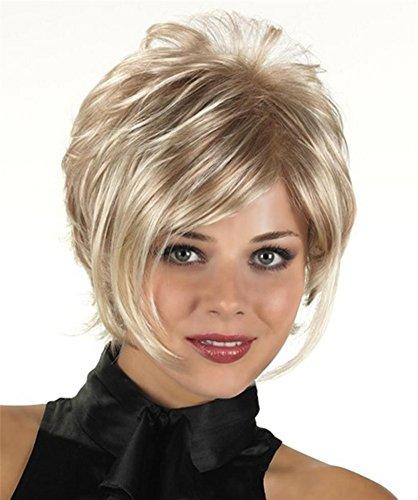 Blond Mischen Braun Farbe Kurz Natur Gelockt Voll Perücken mit Pony Synthetik Hitze Beständig Haar zum Frau 180g