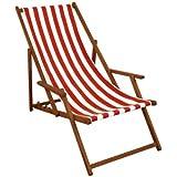 Campingliege mit Armlehne Holz Strandstuhl Rot Freizeitliege Faltliege