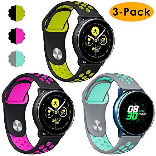 KIMILAR Samsung Galaxy Watch 42mm / Galaxy Active Armband Silikon, (3 Stück) Zweifarbige Sportlich Bands Strap für Galaxy Active 40mm / Galaxy Watch 42mm / Gear Sport/Gear S2, Garmin Vivoactive 3