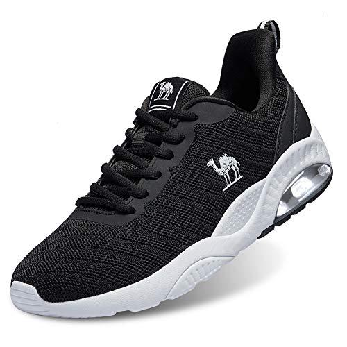 CAMEL CROWN Zapatillas Running para Hombre Atletismo Fitness Casual Zapatos Gimnasia Ligero Sneakers Negro Azul Gris 40-46 (40.5 EU, Negro)