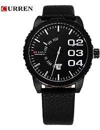 Correa de cuero hombre reloj cronógrafo Curren minimal colour blanco y negro