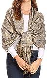 Sakkas 16125 - Kalin Lange Wide Woven Patterned Fringe Tassel