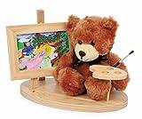 Bär Teddy Plüschtier Stofftier Kuscheltier als Künstler Maler mit Palette und Pinsel und Staffelei die als Bilderrahmen für Fotos genutzt werden kann