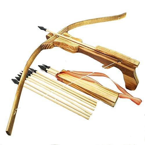 Holz-bogen (Holzarmbrust Kinder Armbrust Bogen aus Bambus Holz mit 10 Gummi Pfeile & Köcher)