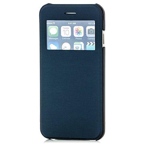 Saxonia Tasche Apple iPhone 6 6S Hülle Case Schutzhülle Flip View Cover mit Fenster Weiss Blau