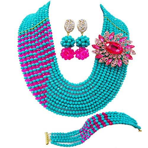 laanc Jewelry 10Reihen Türkis und Hot Pink kristall Nigerianisches Hochzeit afrikanischen Perlen Kristall Schmuck ()